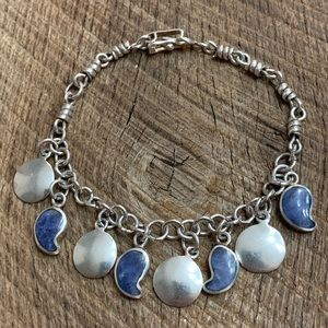 Jewelry - Vintage 950 Silver Sodalite Charm Bracelet